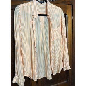 Orange and white striped button down blouse